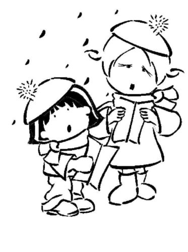 Kids Singing Carol Coloring Page