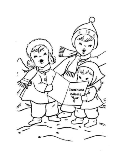 Kids Singing Carol Coloring Sheet Printable