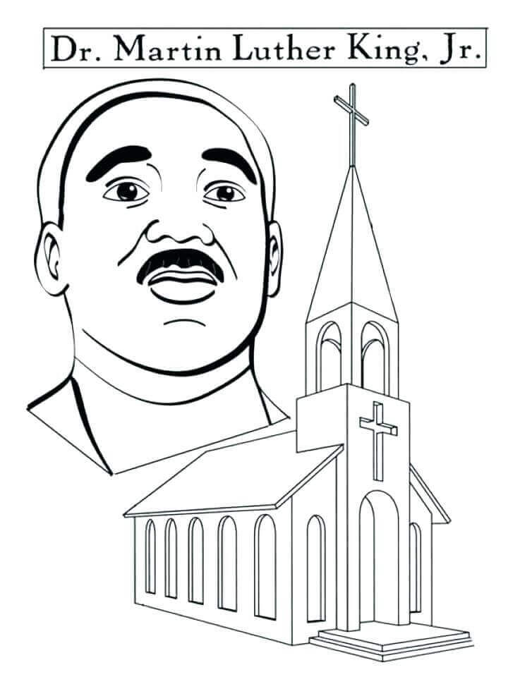 Martin Luther King Junior Day Coloring Page