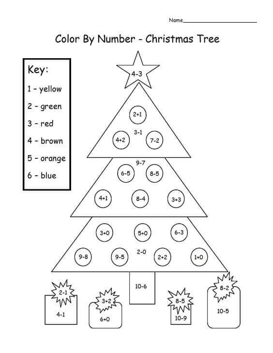 Math Christmas Color By Number Worksheets
