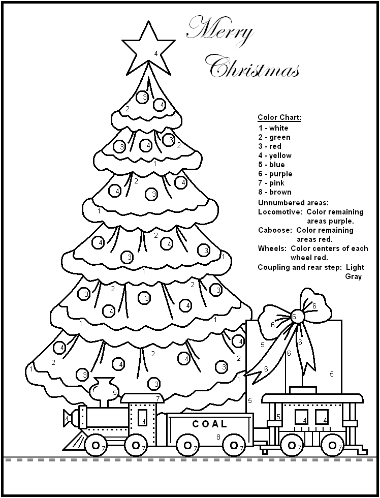 Merry Christmas Coloring By Number Activity Sheets