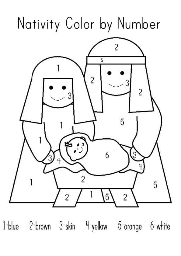 Nativity Color By Number Printable
