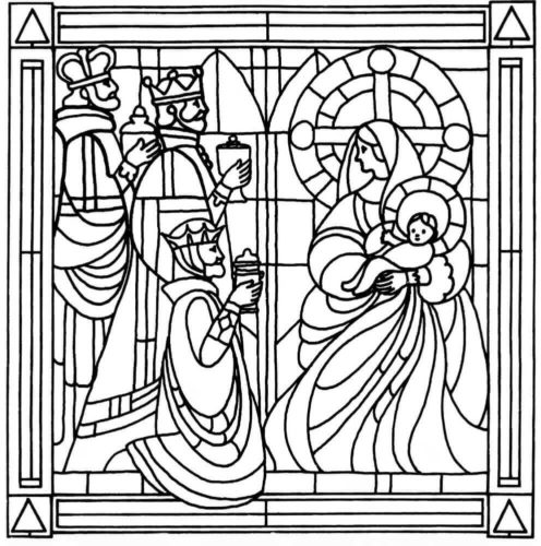 Nativity Glass Display Coloring Page