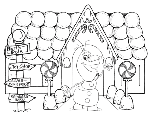 Olaf In Front Of Gingerbread House Coloring Page
