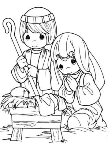 Precious Moments Nativity Coloring Page