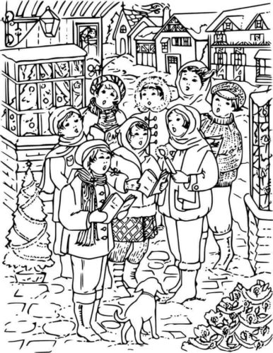 Printable Christmas Carolers Coloring Pages