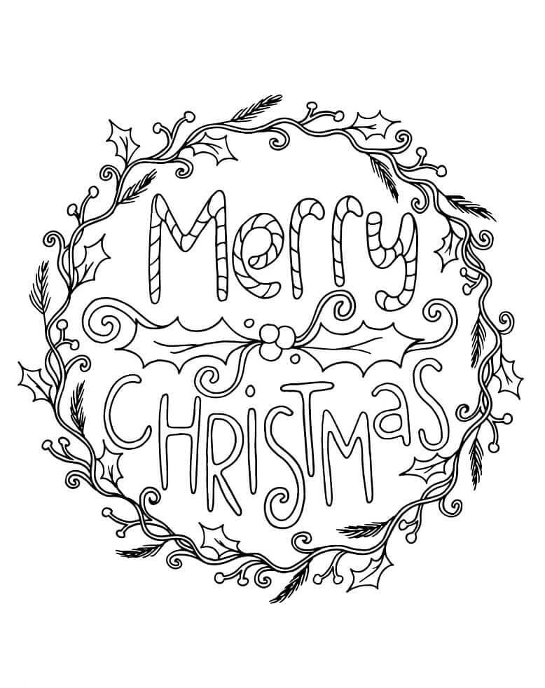 Printable Christmas Wreaths Coloring Pages