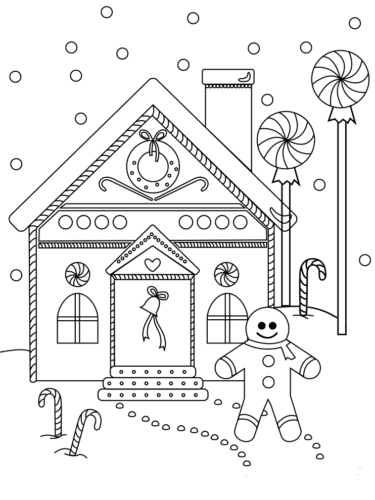 Printable Gingerbread House Coloring Pages Free