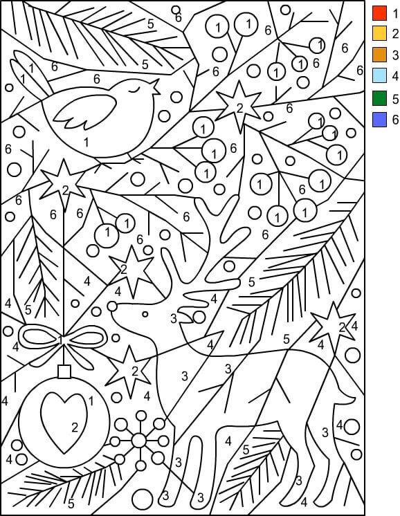 Reindeer Color By Number Printable Sheet