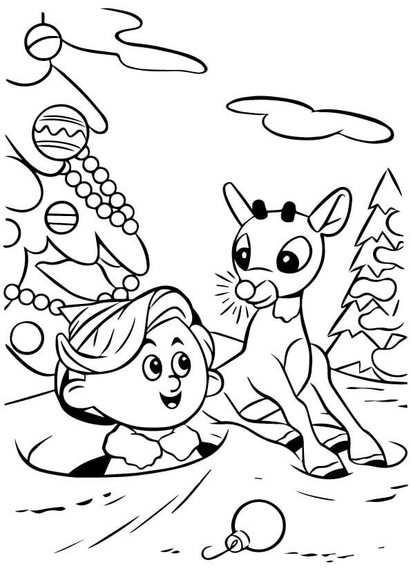 Rudolph And Elf Coloring Page