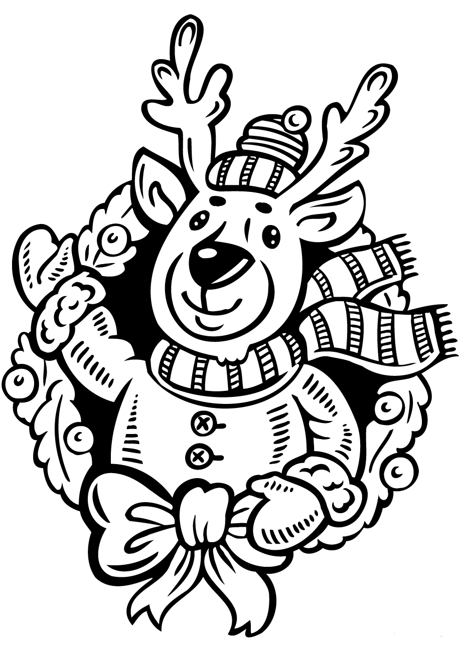 Rudolph On Christmas Wreath Coloring Sheet