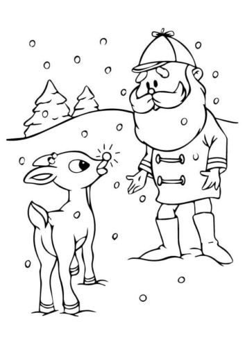 Rudolph With Elf Coloring Page