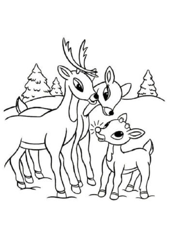 Rudolph With Parents Coloring Page