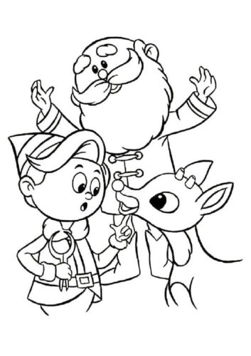 Rudolph With Santa And Elf Coloring Page