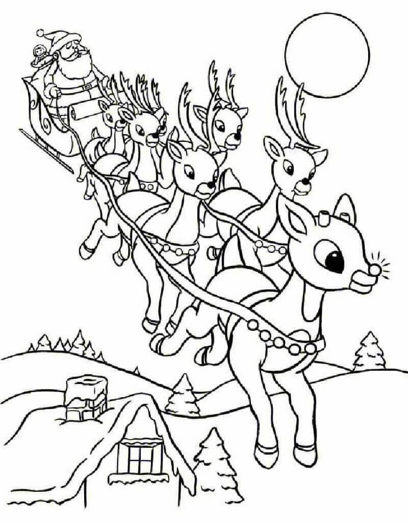 Rudolph With The Reindeer Coloring Page