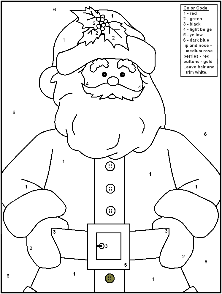Santa Claus Color By Number Activity Sheet