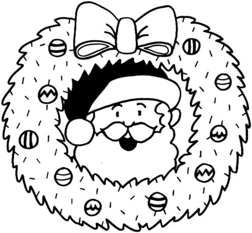 Santa Claus In Chritmas Wreath Coloring Page
