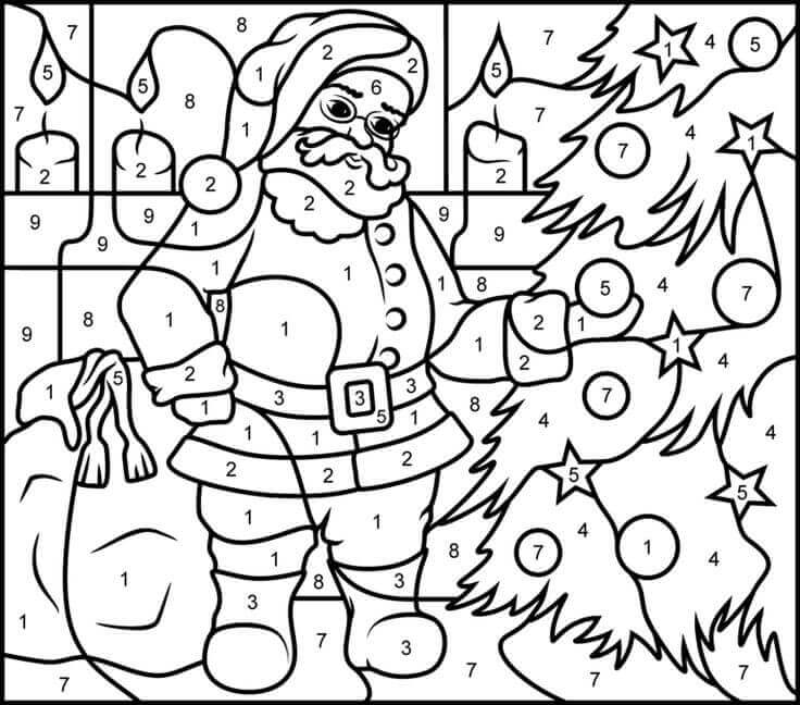 Santa Colour By Number Activity Sheets