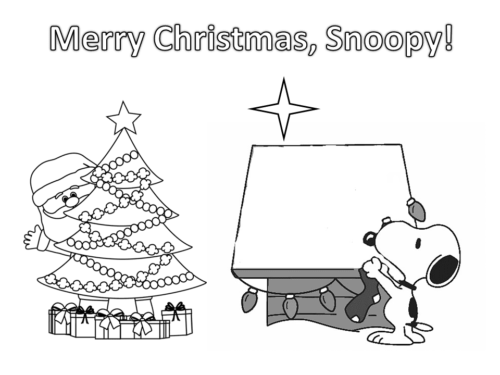 Santa Greeting Snoopy Merry Christmas Coloring Page
