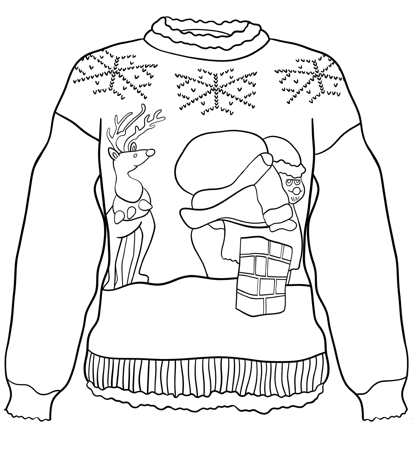 Santa On Chimney Christmas Sweater Coloring Page