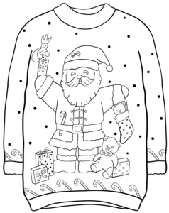 Santa With Gifts Christmas Coloring Page