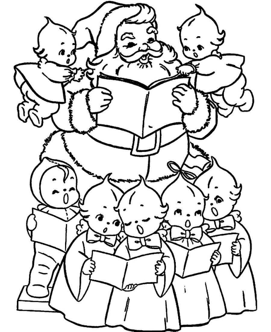 Santa With Little Carolers Coloring Page