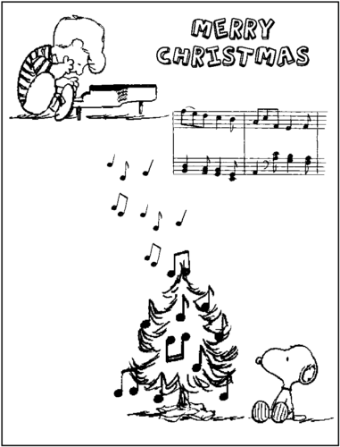 Schroeder And Snoopy on Christmas Coloring Page