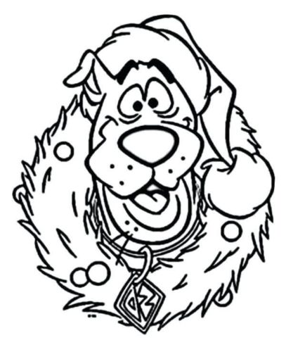 Scooby Doo In Christmas Wreath Coloring Image
