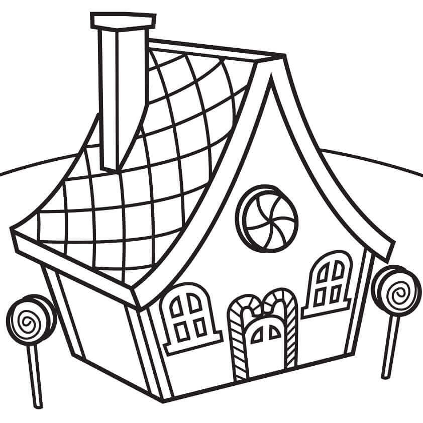 Simple Gingerbread House Coloring Page