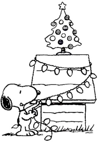 Snoopy Decorating Christmas Tree Coloring Sheet