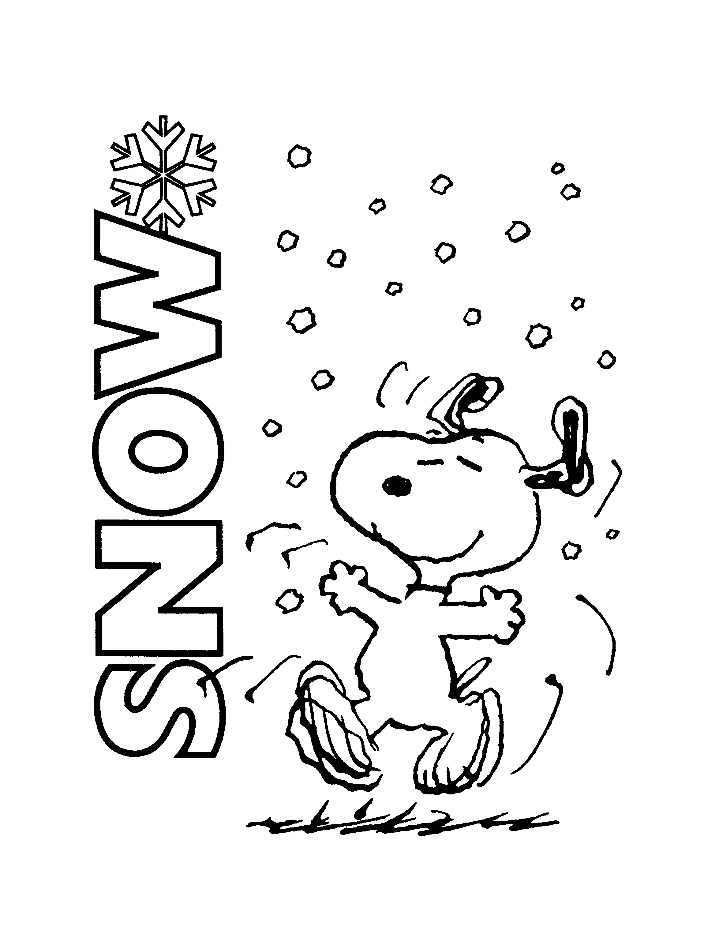 Snoopy Enjoying Snow Coloring Page