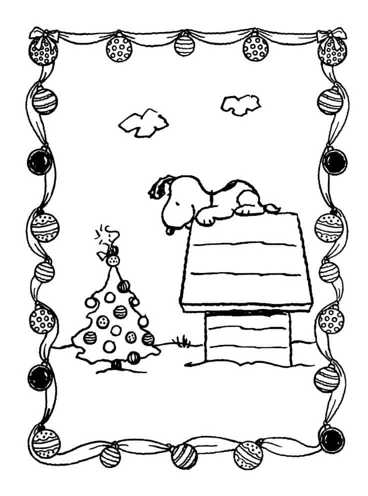 Snoopy With Christmas Tree Coloring Page