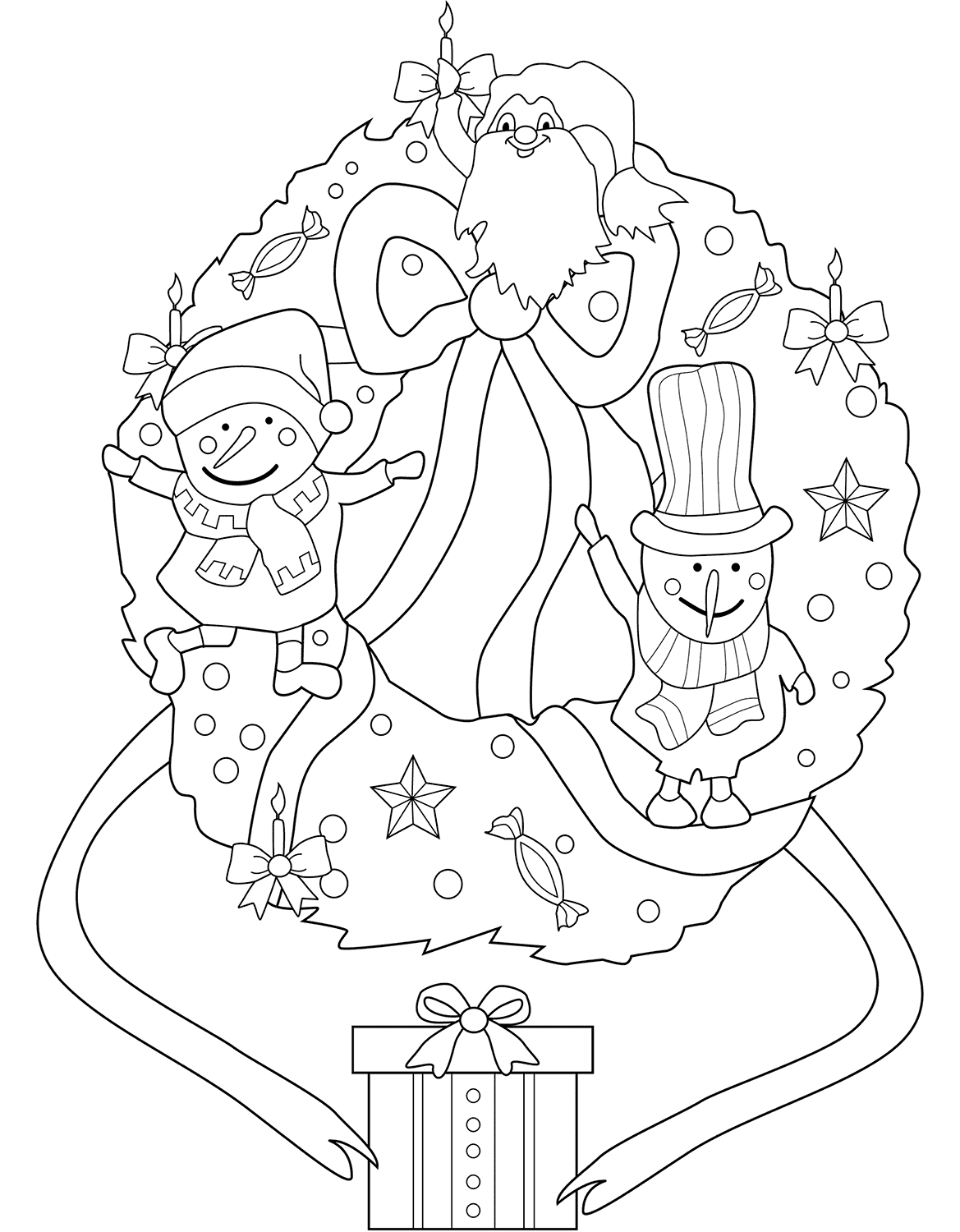 Snowman On Wreath Coloring Page
