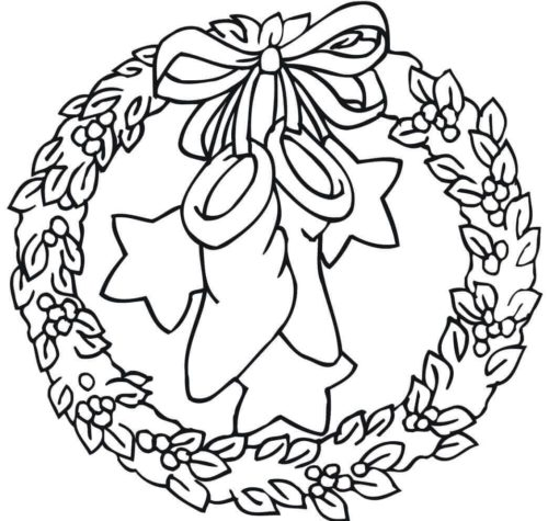 Stockings And Christmas Wreath Coloring Page
