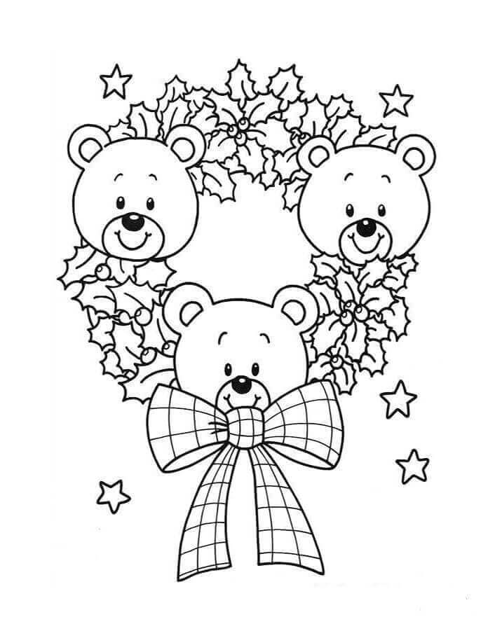 Teddy Bear On Christmas Wreath Coloring Picture