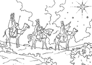Three Wise Men Following Star Coloring Picture