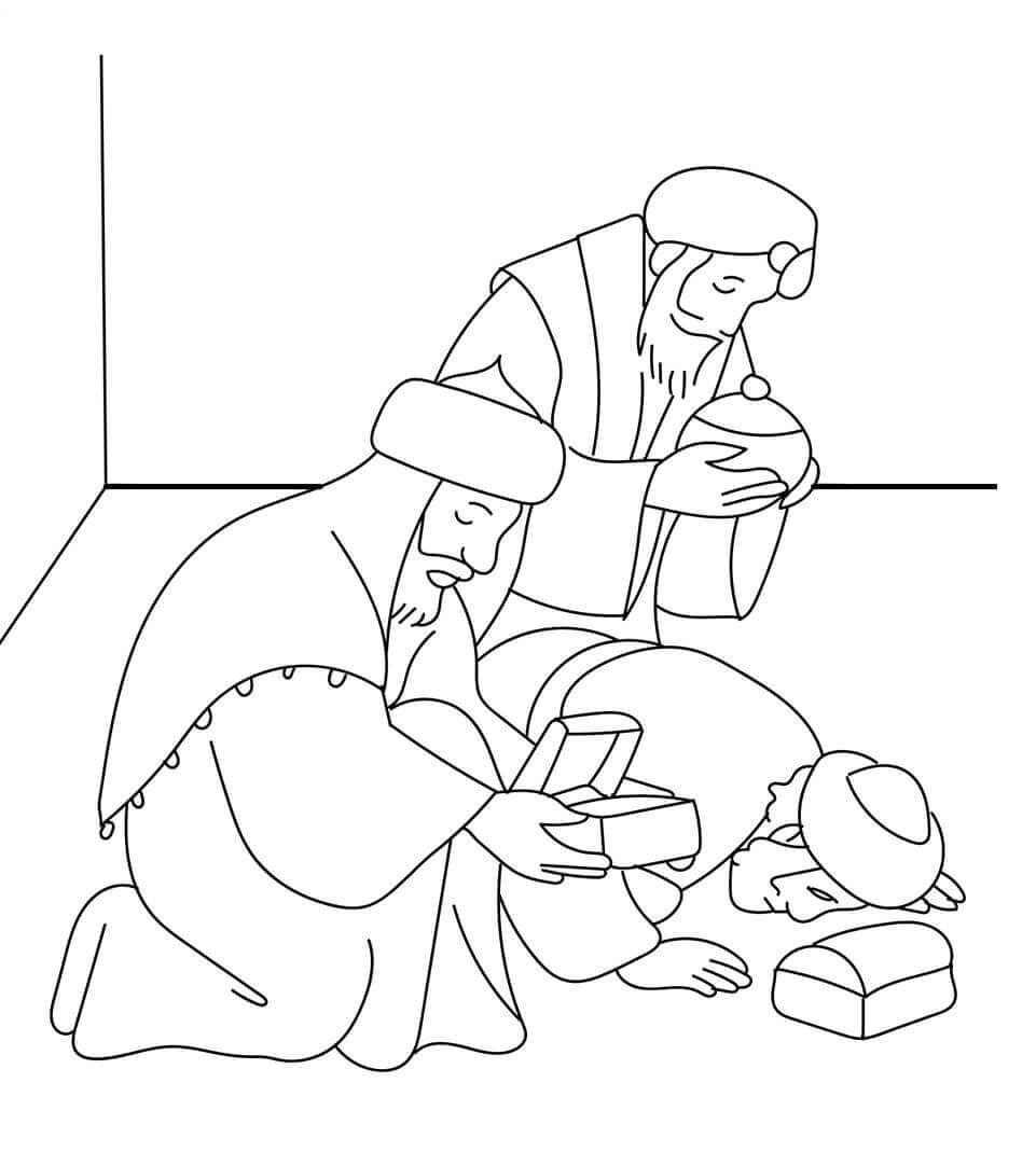 Three Wise Men Nativity Scene Coloring Pictures