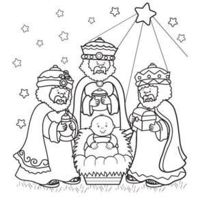 Three Wise Men With Jesus Coloring Page
