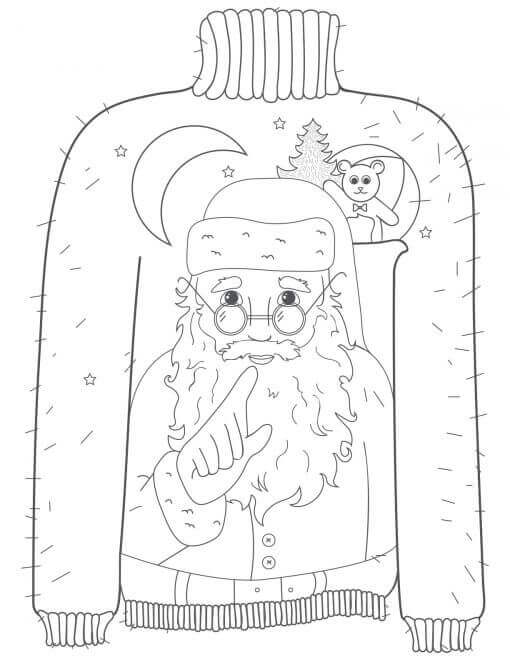 Ugly Christmas Sweater Coloring Page
