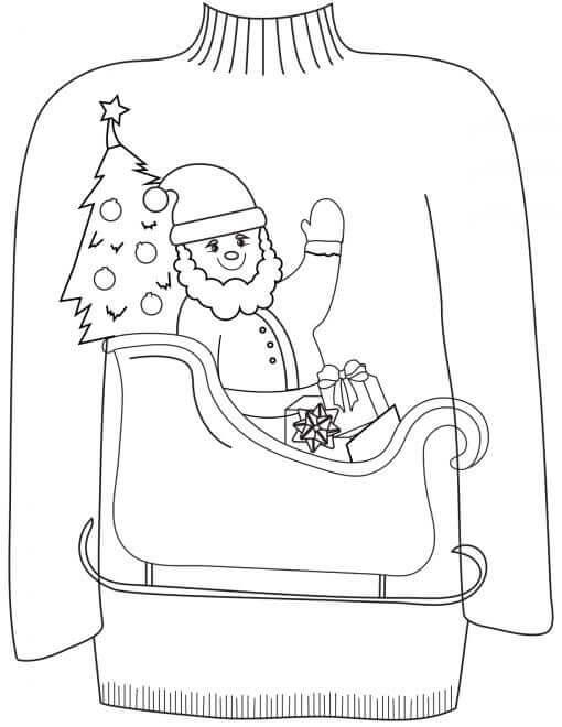 Ugly Christmas Sweater Coloring Pages Free Printable