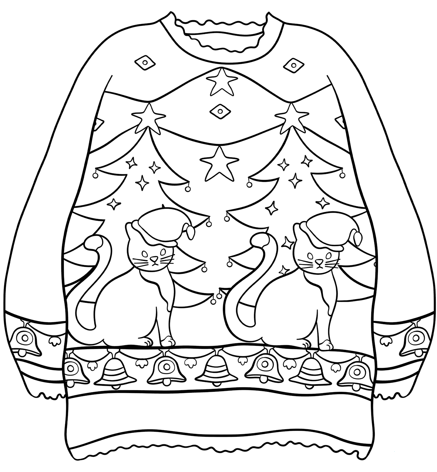 Ugly Christmas Sweater Coloring Pages Printable