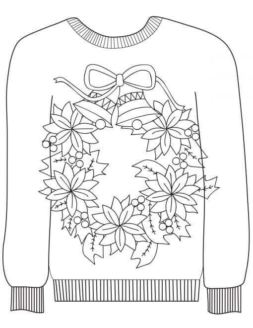 Ugly Christmas Sweater With Wreath Design Coloring Page