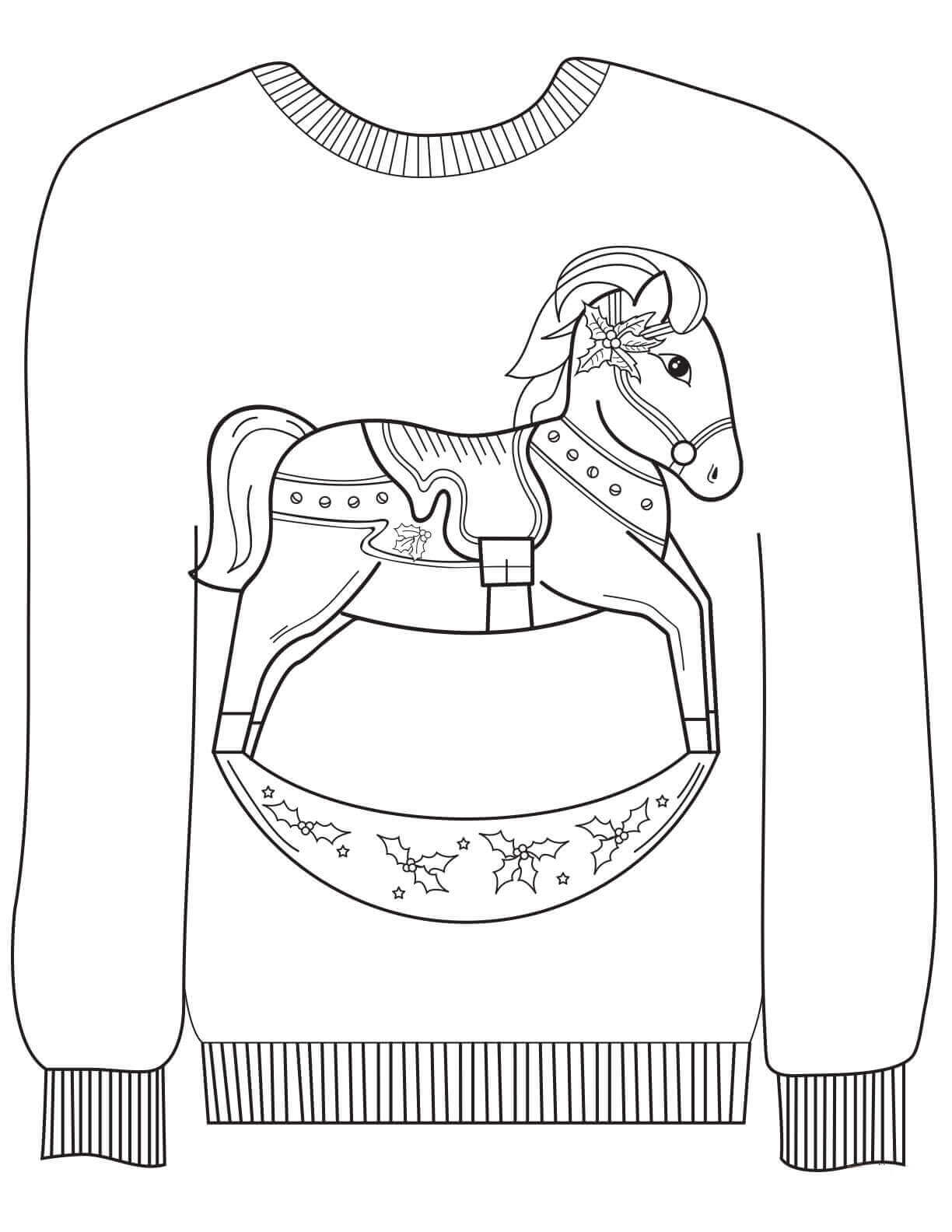 Ugly Christmas Sweater with Rocking Horse Print Coloring Page
