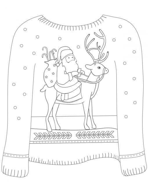 Ugly Christmas Sweaters Coloring Pages Free Printable