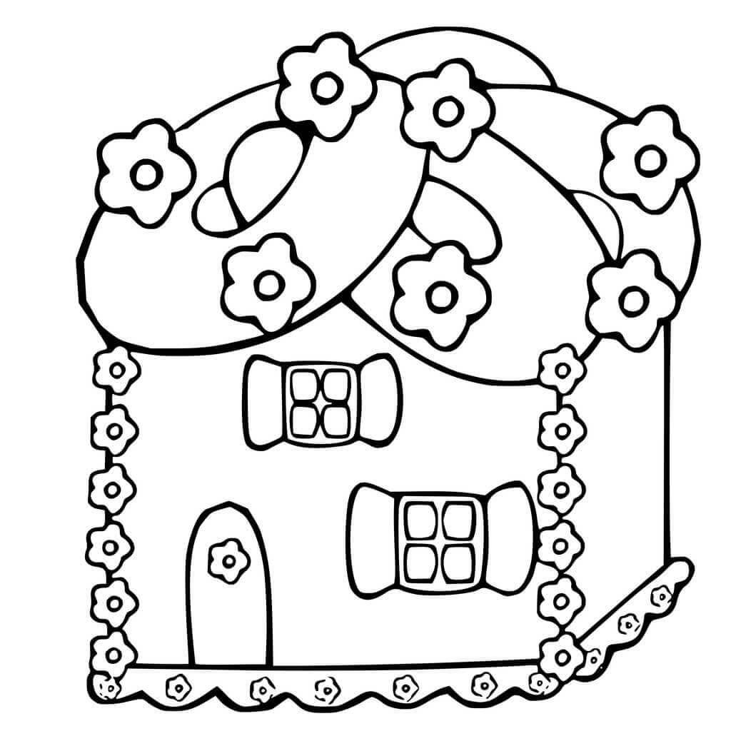 Unique Gingerbread House Coloring Page