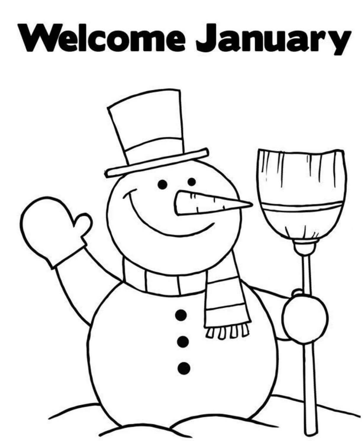 Welcome January Coloring Page
