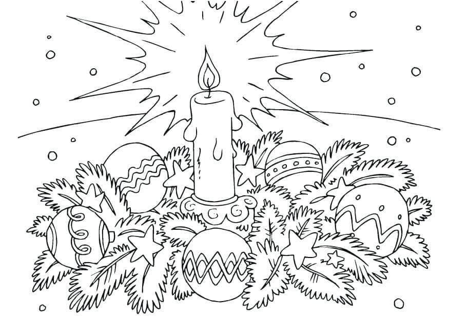 Wreath And Light Coloring Sheet