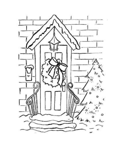 Wreath Hung On Door Coloring Page