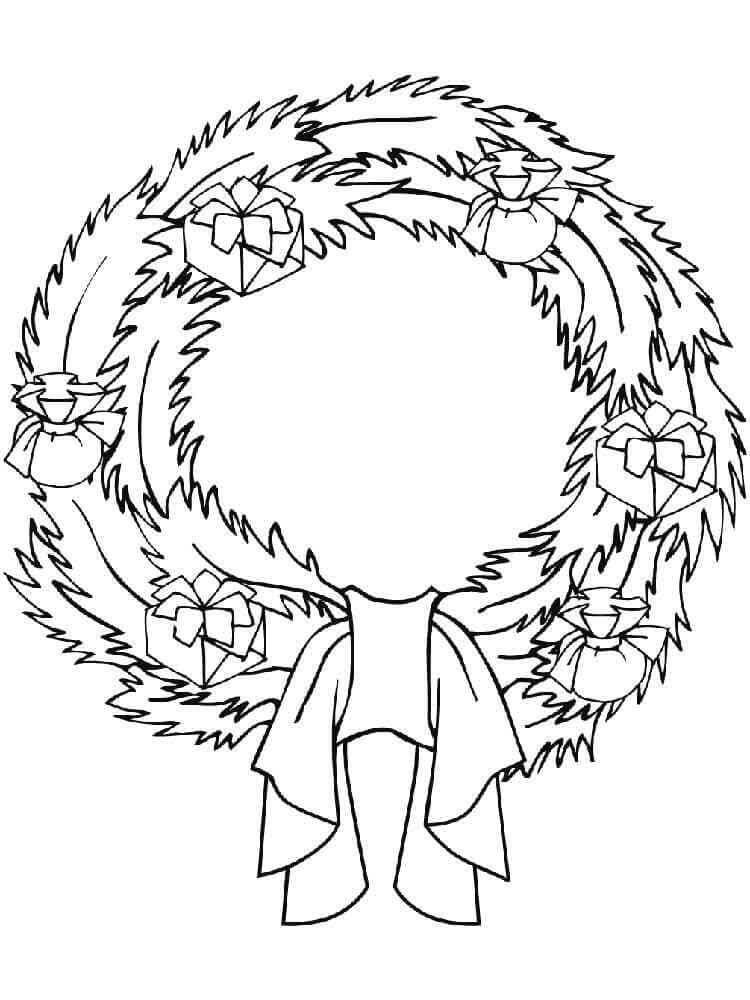 Wreath With Gifts Coloring Page