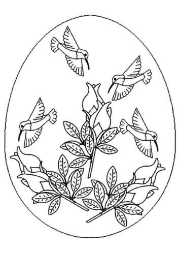 Birds Painted On Easter Egg Coloring Page